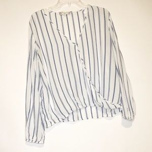 Pink Rose White and Blue Stripe Blouse XL